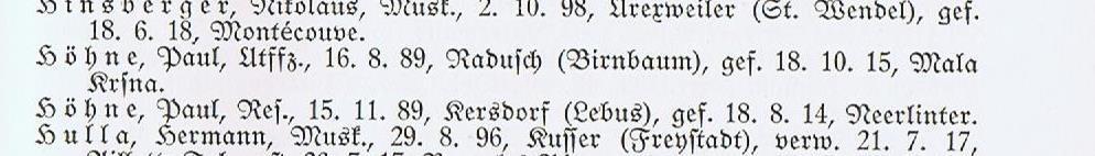 "Paul Höhne in ""Infanterie-Regiment Graf Tauentzien v. WIttenberg"